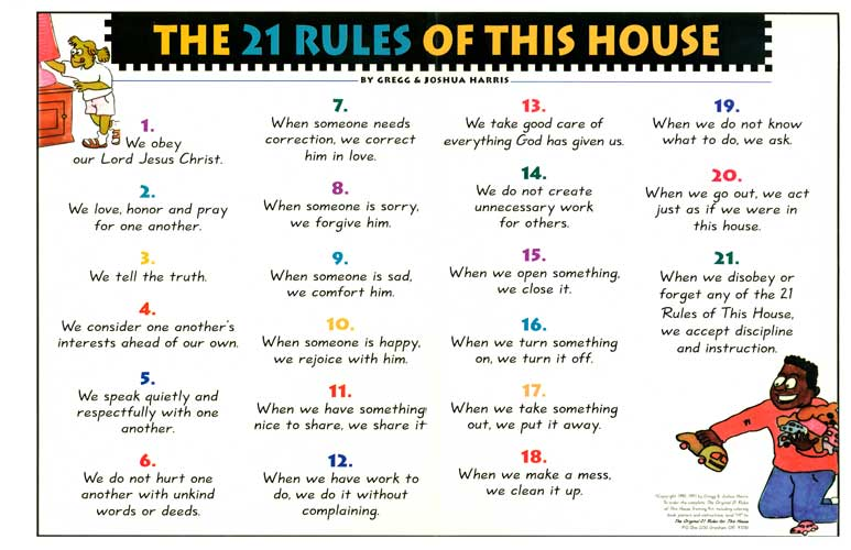 21 rules of this house chart organization
